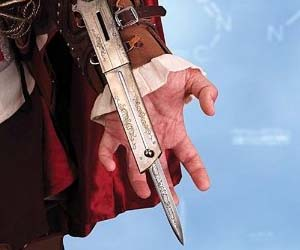 Stalk and kill your target like Ezio with this functioning Assassin's Creed inspired hidden blade; with the flick of the wrist, the replica assassin blade will spring outward. Perfect for cosplay, these life size hidden blades are officially licensed.