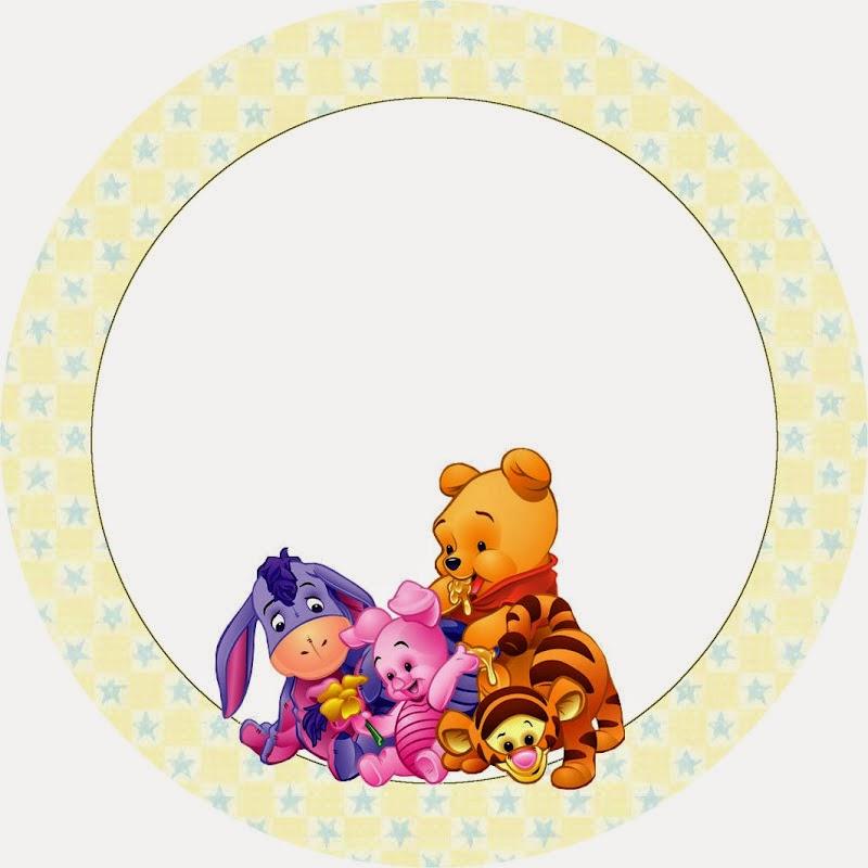 Winnie the Pooh Bebé: Wrappers y Toppers para Cupcakes para Imprimir Gratis.
