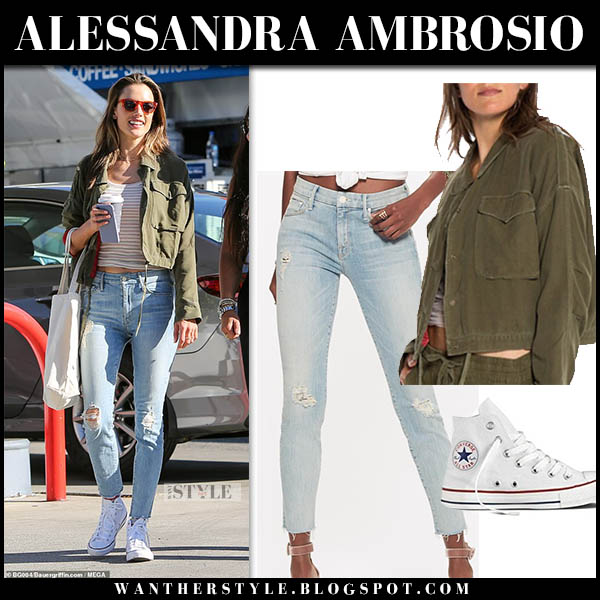 5075ba9b031b5 Alessandra Ambrosio in khaki cropped da-nang jacket and ripped mother jeans  model street fashion