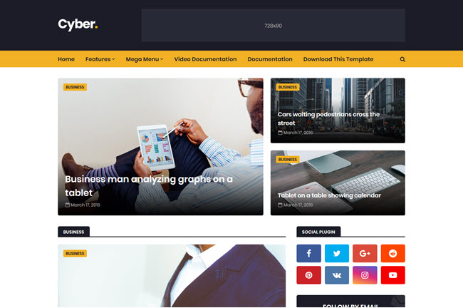 Cyber – Responsive Blogger Template