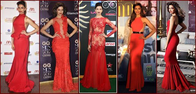 Deepika Padukone in Red Gown, Deepika at CQ awards, Deepika at iifa 2014