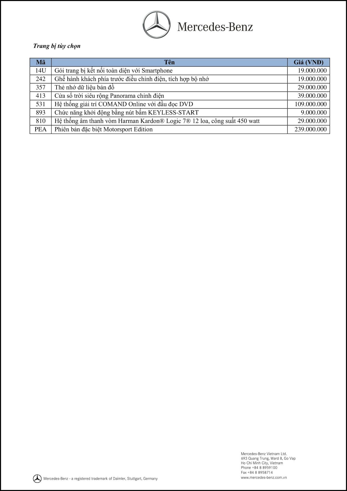 Bảng thông số kỹ thuật Mercedes A250 2018 tại Mercedes Trường Chinh