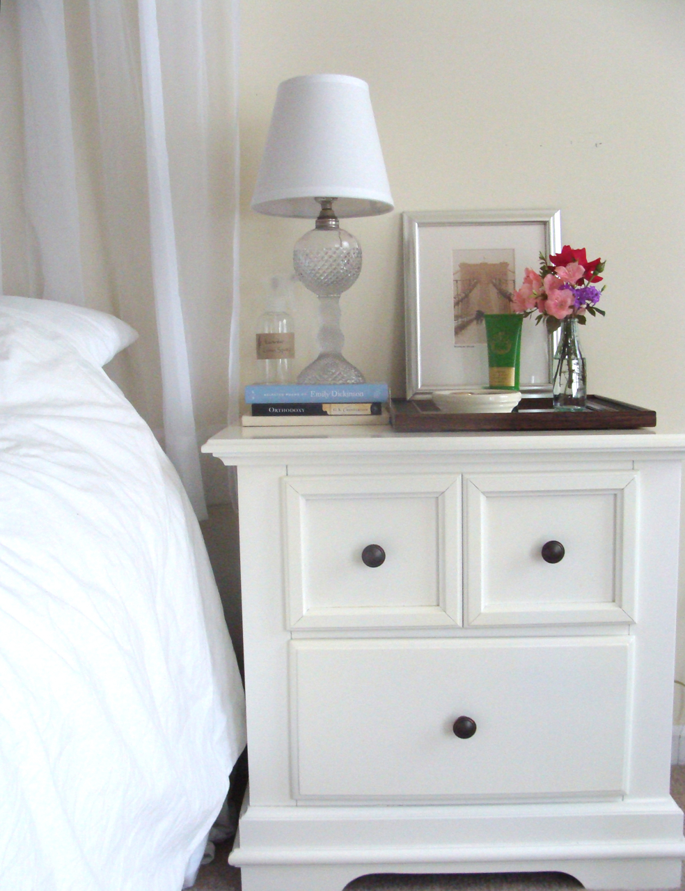 Something ivory nightstand decor Things to use as nightstands