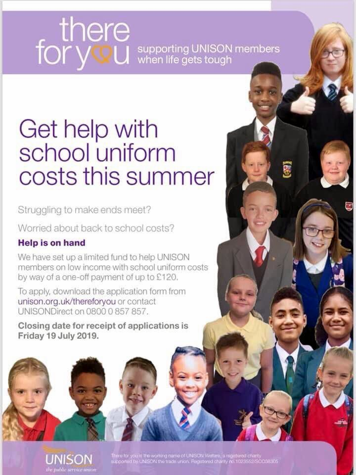 UNISON School Uniform Grant 2019 - up to £120 per family