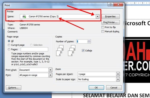 langkah-langkah mencetak dokumen ms word 2007