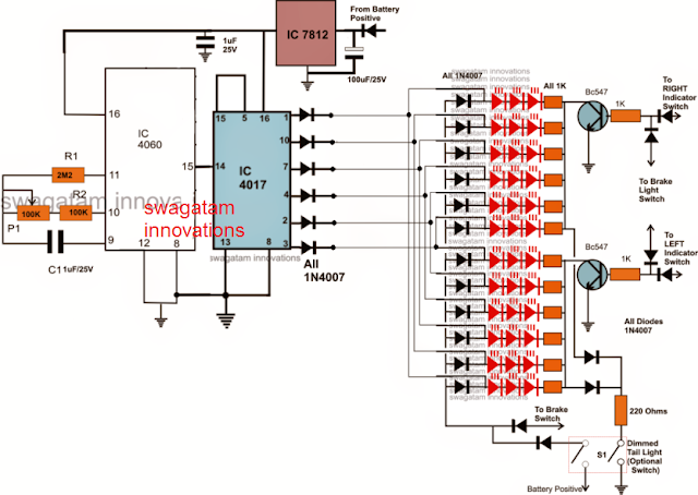 complete circuit diagram for the car brake light connections