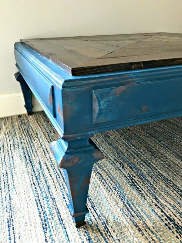 blue and copper painted table