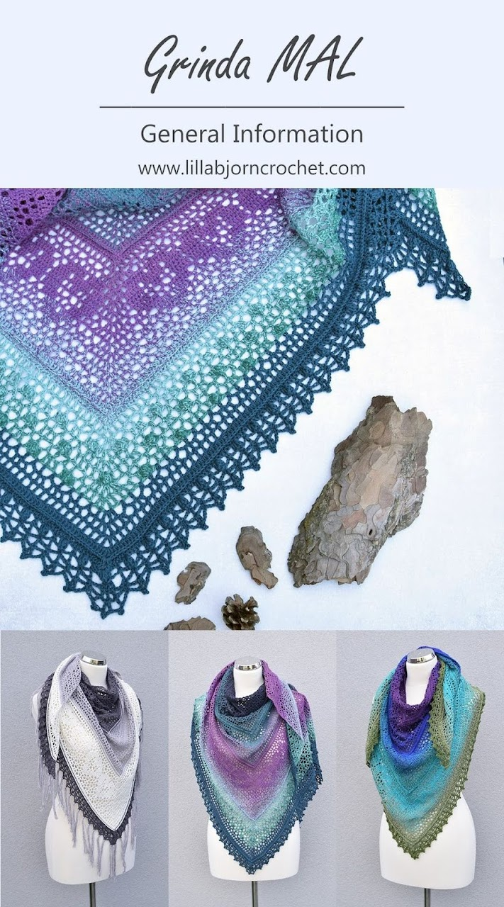 Grinda Shawl MAL. This design is about the sea and wild nature of small island. #Free crochet pattern by www.lillabjorncrochet.com