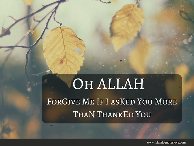 OH ALLAH FORGIVE ME IF I ASKED YOU MORE THAN  THANKED YOU.