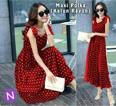 Jual Maxi Dress Maxi Red Polka Dress - 12260