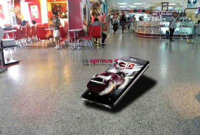 3D flooring promotion graphics in shop hallway