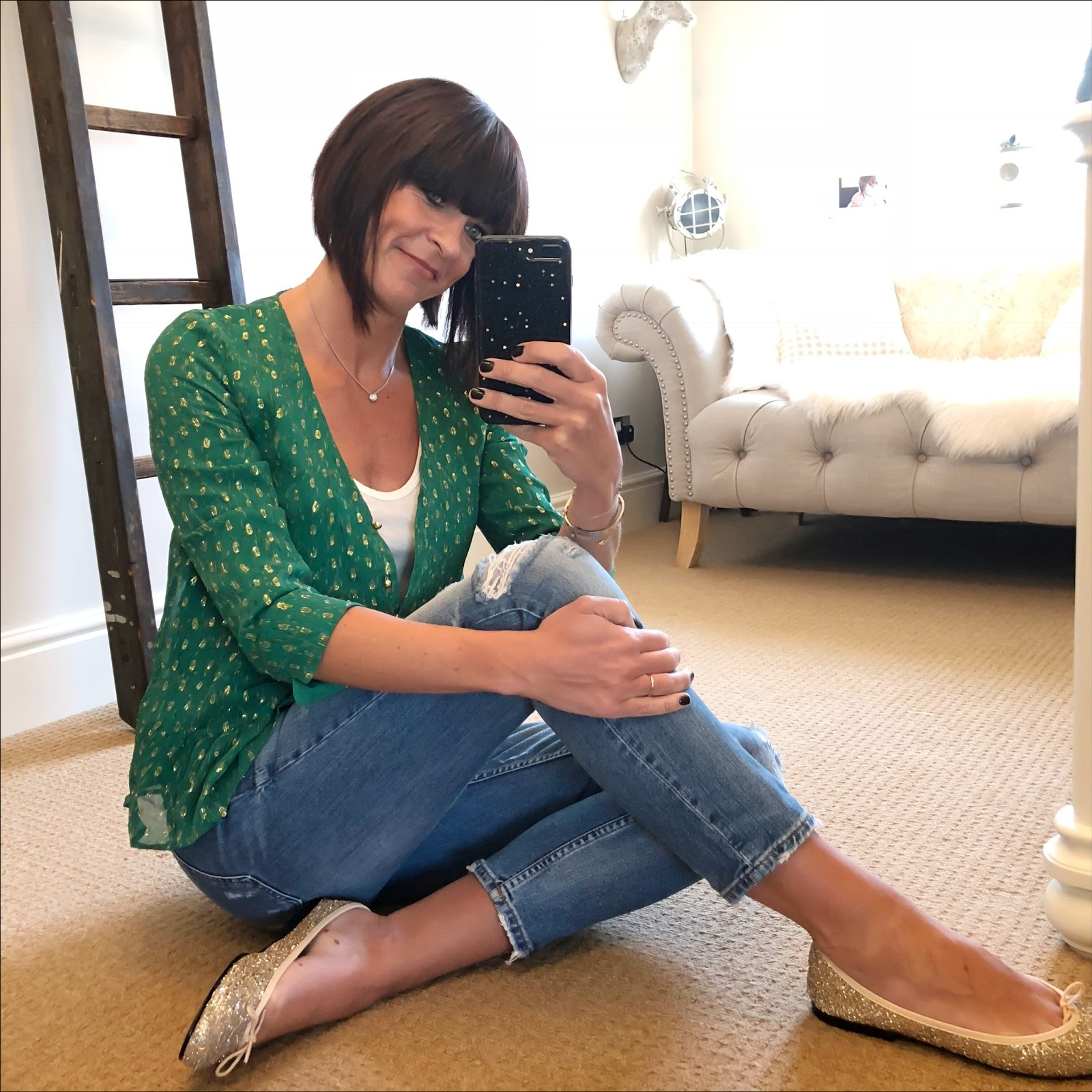my midlife fashion, sezane anna blouse, j crew tank tee, zara distressed cigarette jeans, french sole glitter henrietta ballet pumps