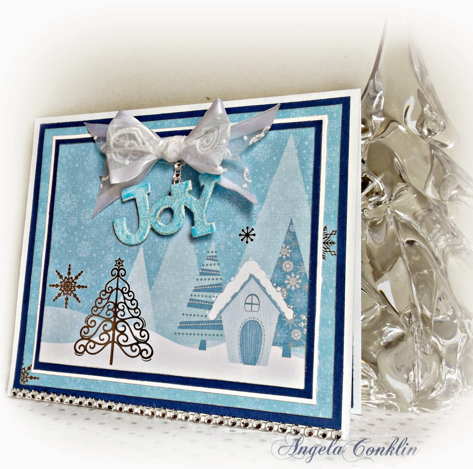 Handmade Card: A Joyful Blue and Silver Christmas