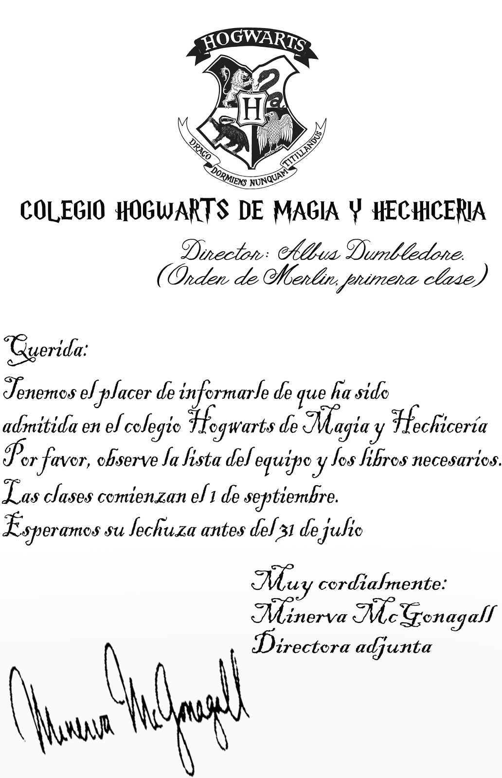 Carta De Hogwarts Lista De Materiales Sample Site K