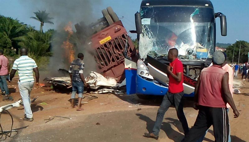 Ikorodu FC players cheat death as bus collides with truck in Enugu