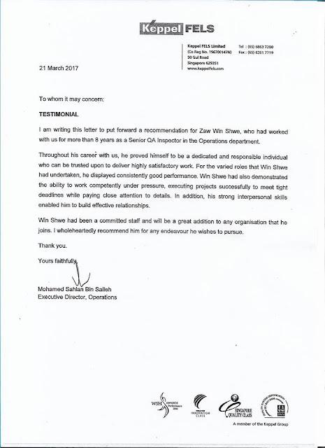 Certificate of Testimonial (Keppel FELS)n