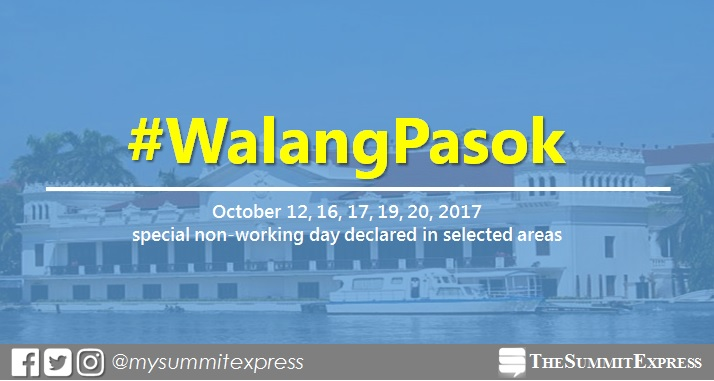 #WalangPasok: October 12, 16, 17, 19, 20, 2017 special holiday declared in selected areas
