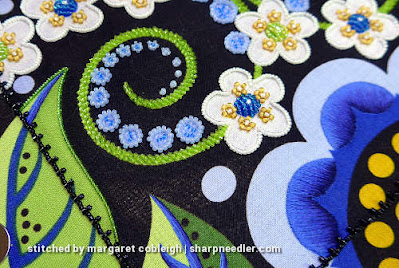 Japanese bead embroidery showing beaded outlined leaf and needlepainting. (Wild Child Japanese Bead Embroidery by Mary Alice Sinton)