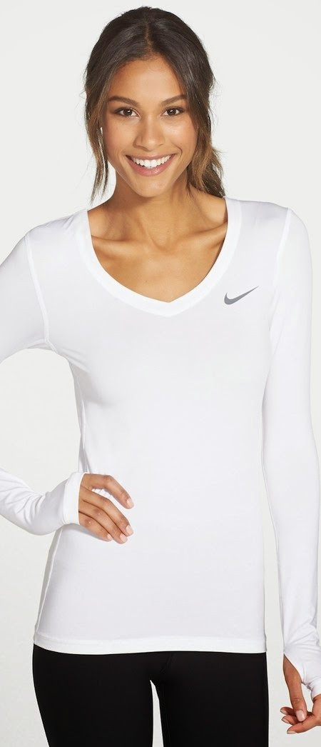 Nike 'Pro' Dri-FIT V-Neck Top in white