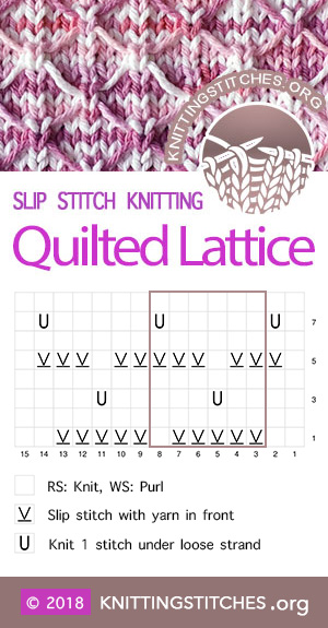 Quilted Lattice stitch chart. Great Slip Stitch Pattern. I hope you enjoy knitting it as much as I did!