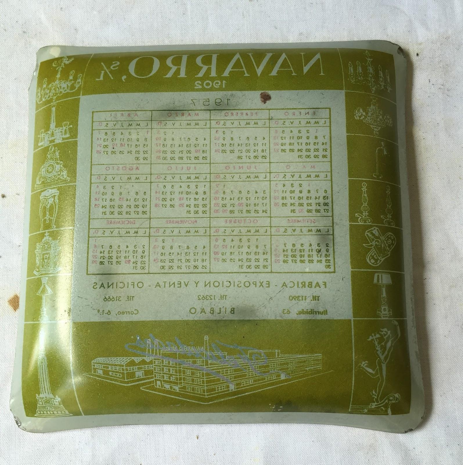 Calendario Del Ano 1957.Cenicero Publicidad Cristal Calendario 1957 Vintage