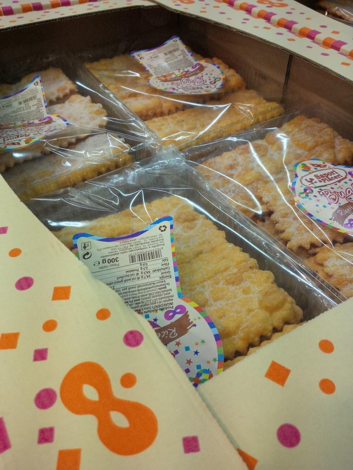 Packs with crostolli in an Italian supermarket, Vicenza, Veneto, Italy