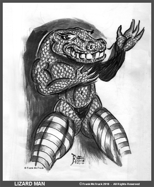 "A Frank McTruck  ink and ink wash illustration - ""Lizard Man"""