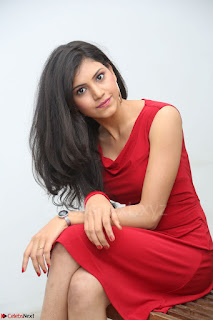 Mounika Telugu Actress in Red Sleeveless Dress Black Boots Spicy Pics 023.JPG