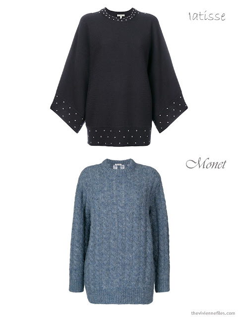 comparing a studded sweater to a marled sweater