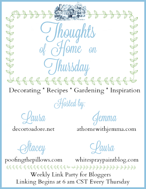 A blog linky party hosted by Poofing the Pillows, Decor to Adore, White Spray Paint, and At Home with Jemma.