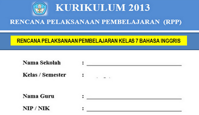 Administrasi Pembelajaran Bahasa Inggris K13 SMP/MTs Kelas 7