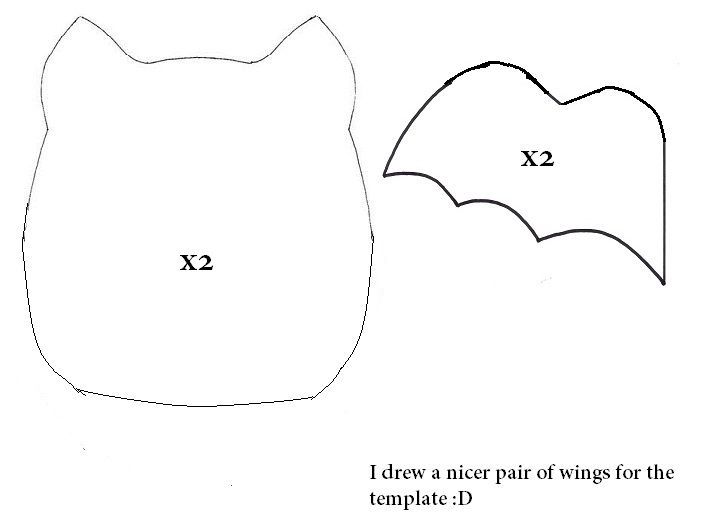 Halloween  How To Sew A Bat Plushie Tutorial Hapy Friends Shoppe - bat template