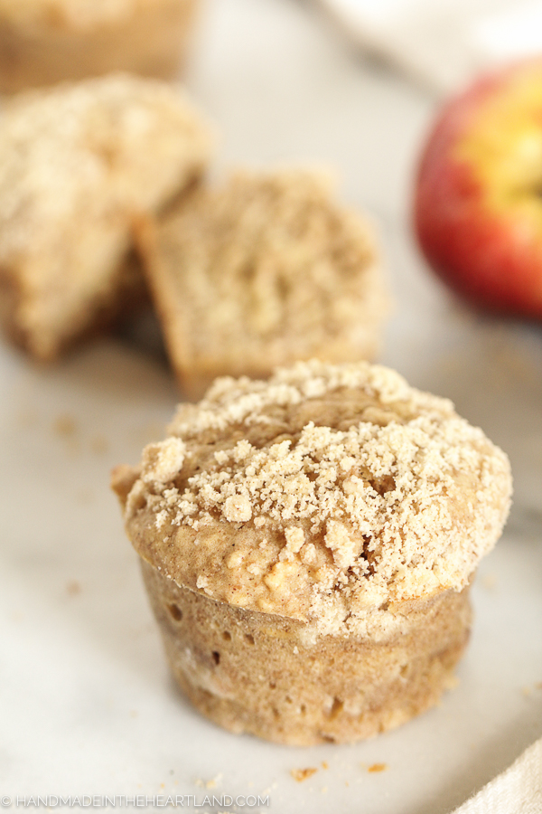 Delicious healthy apple cinnamon streusel breakfast muffins