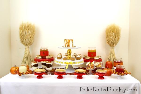 Fall is coming and this red and orange fall dessert tablescape would be perfect for an office party or an easy setup for Thanksgiving.