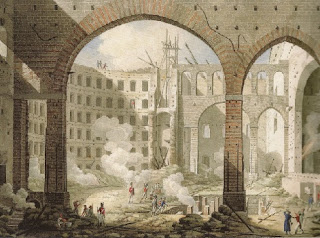 The damage wreaked by the 1816, captured in a painting by an unknown artist