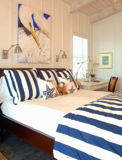 Blue and white stripe coastal bedroom