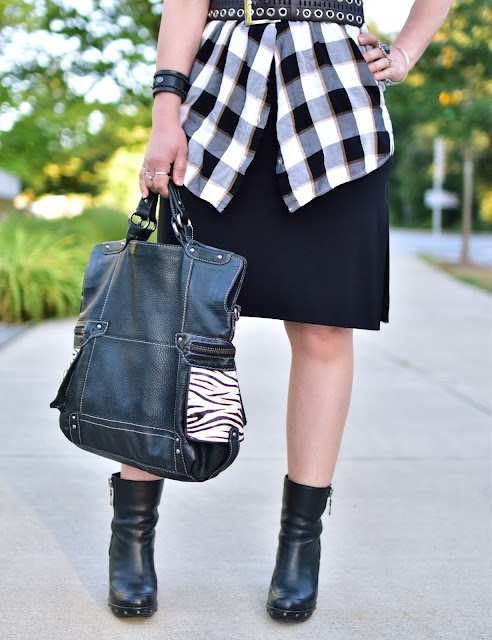 waist-wrapped plaid shirt, grommet belt, platform Kork-Ease booties, zebra-print Fossil bag