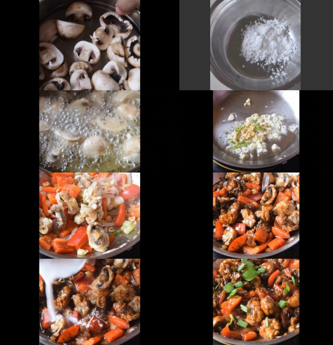 step by step images of how to make mushroom manchurian