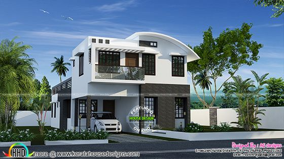 232 sq-m curved roof mix house plan