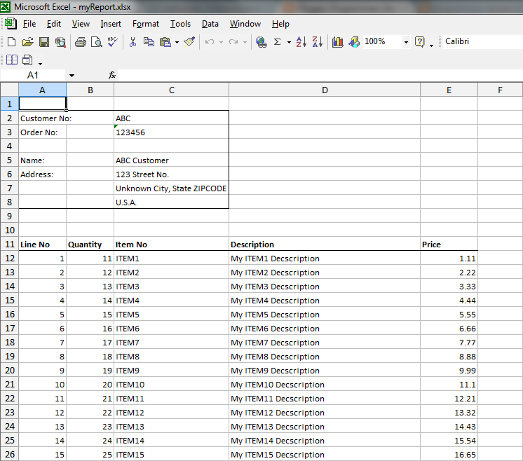 Apache POI generate Excel Report
