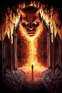 the devil at the gate of hell fire