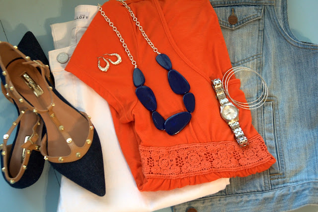 orange and blue with white jeans