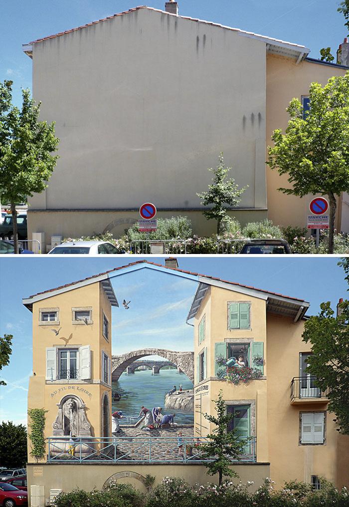 French Artist Transforms Boring City Walls Into Vibrant Scenes Full Of Life - Au fil de Loire