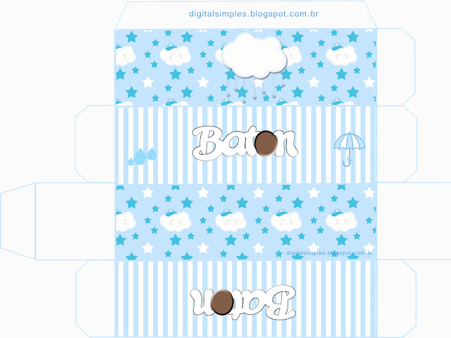 Light Blue Rain of Blessings or Rain of Love: Free Printable Boxes.