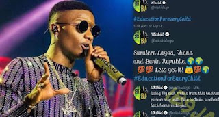 Wizkid Posts About Building Schools All Over Africa And Deletes Post Hours Later.