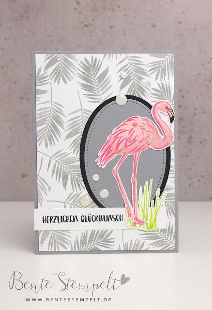 Stampin' Up! Flamingo-Fantasie Blätter Hintergrund stempeln selber machen Leaves Fabulous Flamingo Flamingoliebe Karte Glückwunsch
