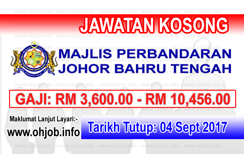 Jawatan Kerja Kosong Majlis Perbandaran Johor Bahru Tengah - MPJBT logo www.ohjob.info september 2017