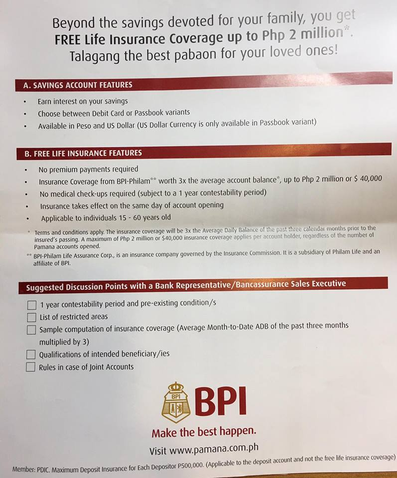 Bpi savings account with free life insurance learning to compute bpi pamana no need for top up x3 of adb yadclub Gallery