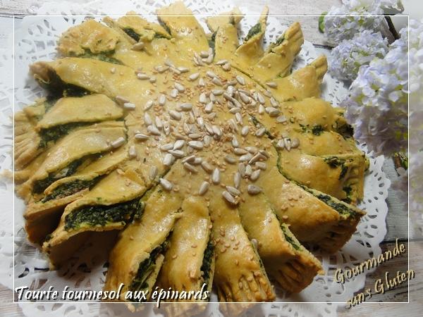 Tourte tournesol aux épinards, sans gluten