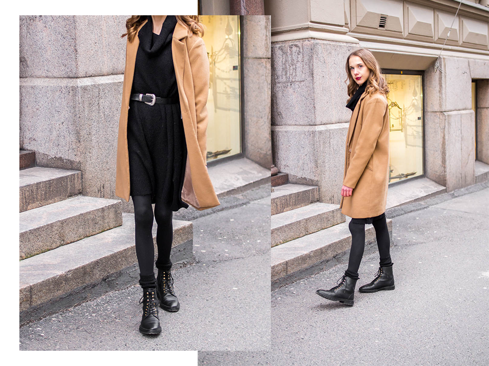 Winter outfit with black jumper dress and camel coat - Muoti, tyyli, bloggaaja, Helsinki